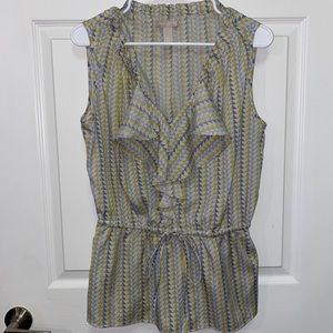 Banana Republic Grey & Yellow Ruffled Blouse